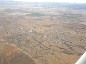 Aerial photo of Ash Creek Wildlife Area during restoration in September 2012.